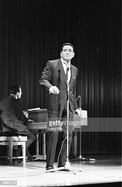 American singer Tony Bennett sings at a Royal Command Performance