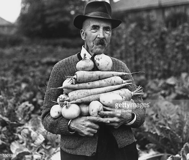 Champion gardener 89 year old John Hall carries a pile of his prize winning vegetables at his allotment at Foots Cray