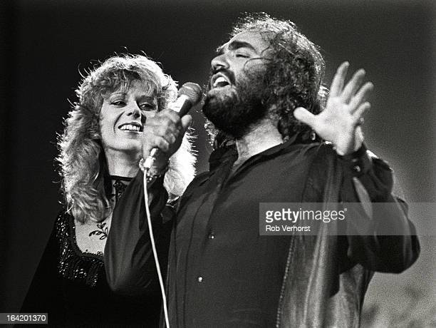 Greek singer Demis Roussos performs live on stage with American singer Florence Warner at the Platen 10daagse at Ahoy in Rotterdam Netherlands on 9th...