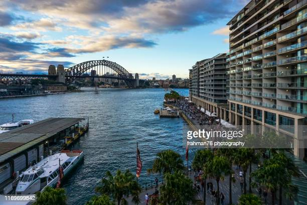 9th sep 2016, sydney; the scenery at the circular quay with harbour bridge at the background during daytime. - sydney ストックフォトと画像