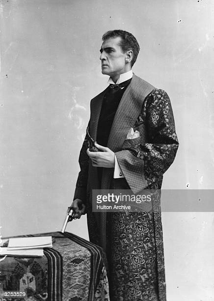William Gillette as the lead in a stage production of 'Sherlock Holmes' at the Lyceum Theatre Playwright William Gillette Arthur Conan Doyle