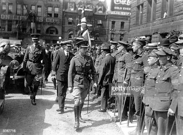 The Duke of Windsor as Edward Prince of Wales inspects wounded soldiers outside City Hall Toronto during his royal tour He ascended the British...