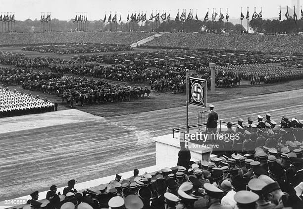 German dictator Adolf Hitler address his army which fills Zeppelin Field during the Nazi Party Congress Nuremberg Germany