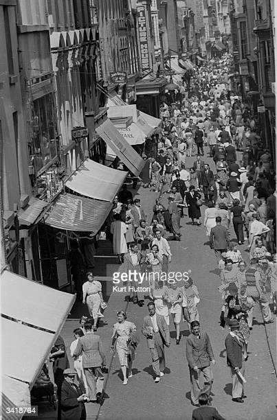 Strand Street in Douglas on the Isle Of Man busy with holidaymakers Original Publication Picture Post 196 The Isle Of Man pub 1939
