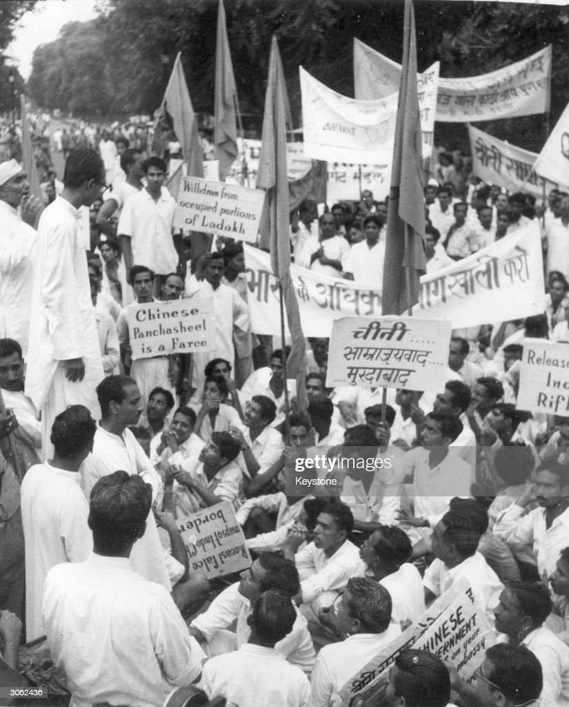 Demonstration in New Delhi organised by the 'Jan Singh' party to protest against the alleged raids across Indian territory by Chinese forces. Their placards read 'Chinese Panchsheel is a Farce' and 'Withdraw from occupied portions of Ladakh'.