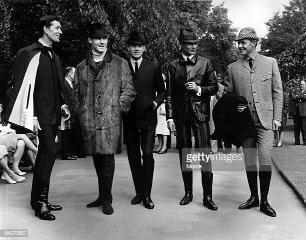 To celebrate their centenary men's tailors Hepworths give a showing of fashions of the future designed by Hardy Amies Left to right Dick Orme wears...