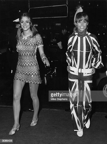 On the left in a minidress Marlene Schwerter from Berlin and in a Union Jack trouser suit Lois Hamel from Amsterdam competing for the title of...
