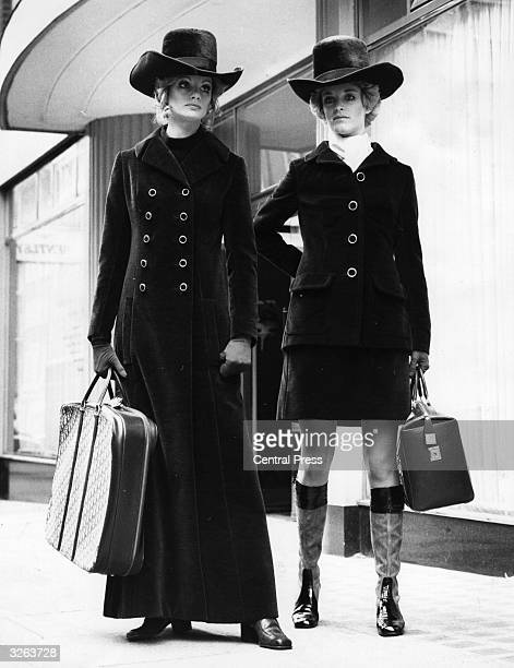 Two models in London's Conduit Street wearing a maxicoat and a miniskirted suit in brown velour created by Jorn Langberg for the Christian Dior...