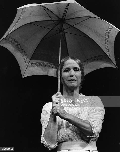 American actress Julie Harris rehearsing for her part in the 'Belle of Amherst' at the Pimlico Theatre London