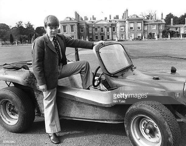Thirteenyearold Charles Spencer Viscount Althorp only son of the 8th Earl Spencer with his beach buggy outside his home Althorp House...