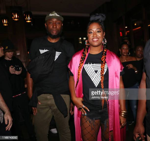 9th Wonder and Rapsody attend Rapsody's Evealbum listening party at MADE Hotel on August 22 2019 in New York City