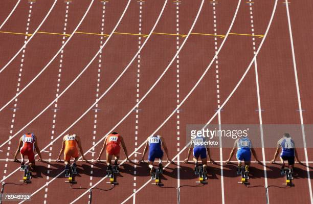 9th World Championships in Athletics, Paris, France, 26th August 2003, Mens 100m Heats, Competitors on their starting blocks