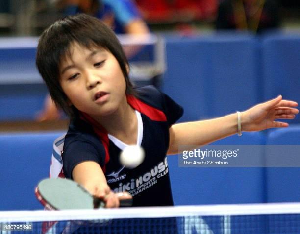 9yearold Miu Hirano in action during the All Japan Table Tennis Championships at Tokyo Metropolitan Gymnasium on January 12 2010 in Tokyo Japan