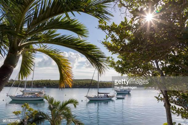 STOCKING ISLAND_SCENIC HARBOR WITH SAILBOATS _EXUMAS_Bahamas