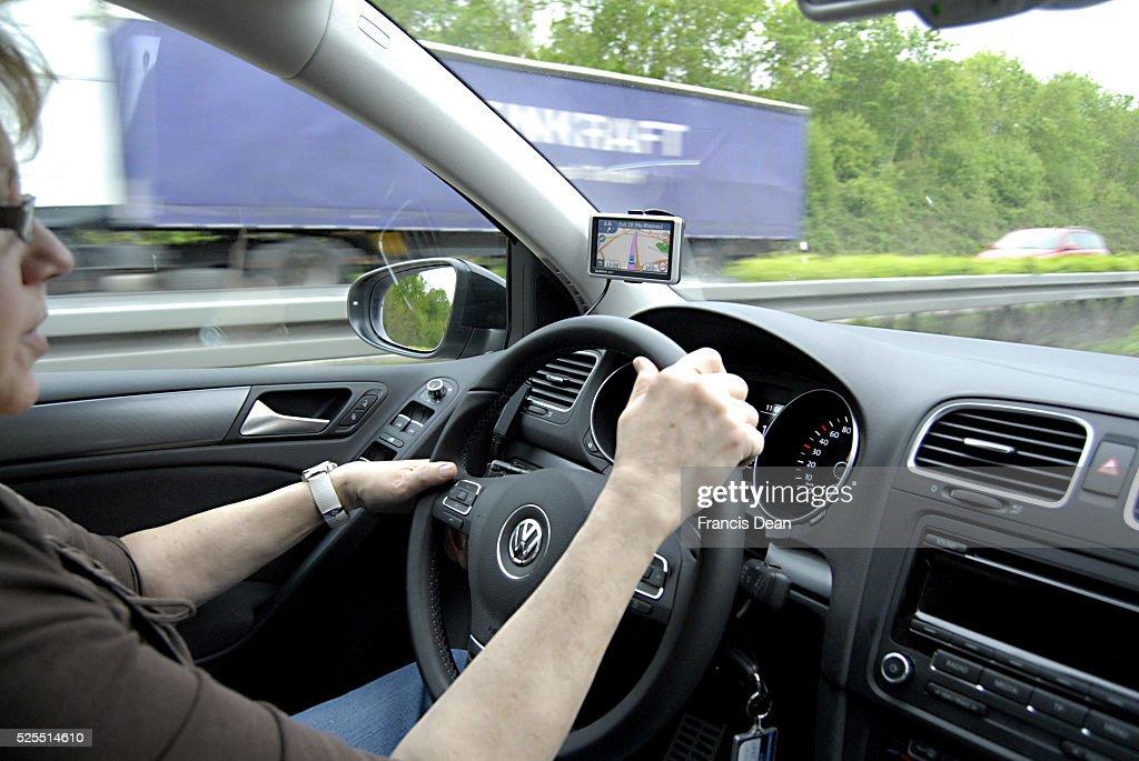using gps on german highway : News Photo