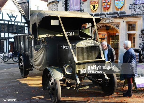 a 1916 Thornycroft military flat bed lorry, on display outside the Winchester City Museum, in Winchester, England.