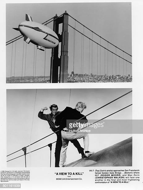 a airship approaches the Golden Gate Bridge Actor Roger Moore fights with Christopher Walken on the Golden Gate Bridge in a scene from the MGM/UA...