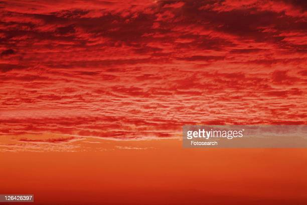 a Beach and the Sky, Red From the Setting Sun, Front View, Toned Image