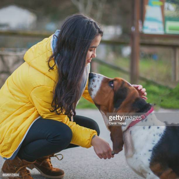 a beautiful brunette teengirl  kissing  a dog outdoors - basset hound stock pictures, royalty-free photos & images