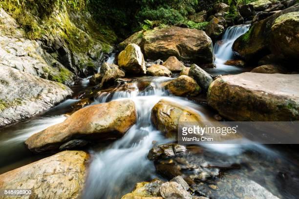 a beautiful waterfall intriguing river potholes in Taiwan