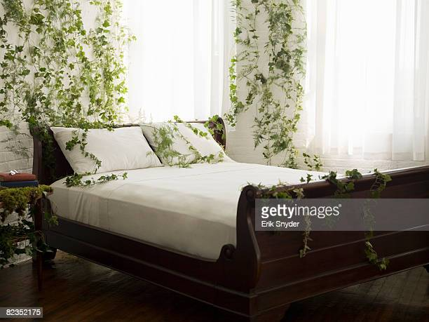 a bedroom with vines on the walls