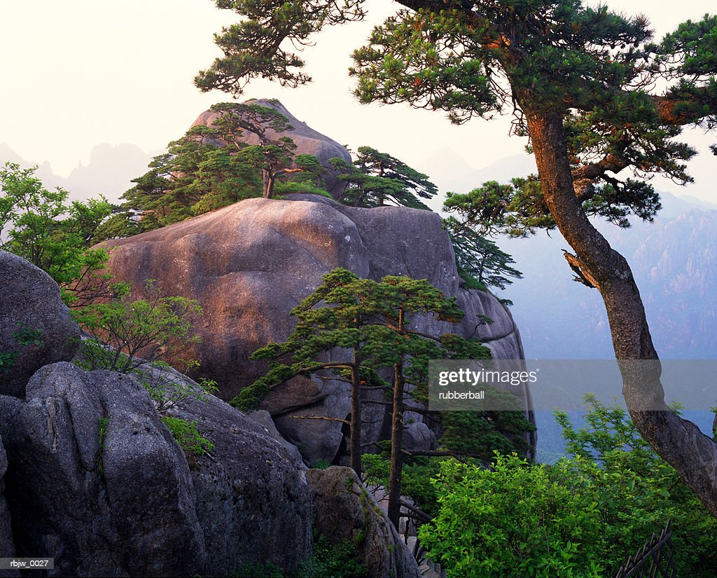 a boulder and tree in a chinese mountain range : Stockfoto