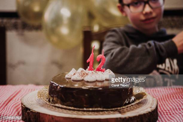 a boy blowing  out candles  in his birthday cake - 12 13 jaar stockfoto's en -beelden