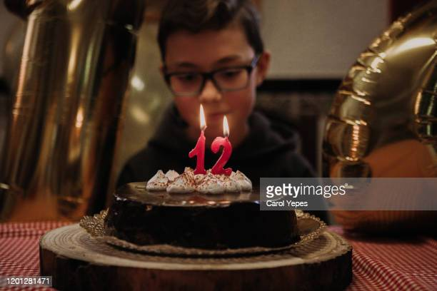 a boy blowing  out candles  in his birthday cake - birthday candle stock pictures, royalty-free photos & images