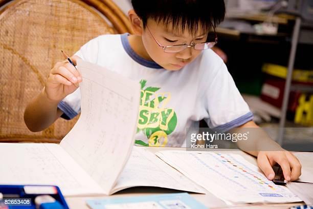 a boy doing homework