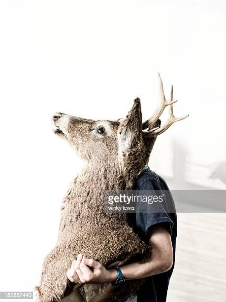 a boy sits holding a deer head - dead deer stock photos and pictures