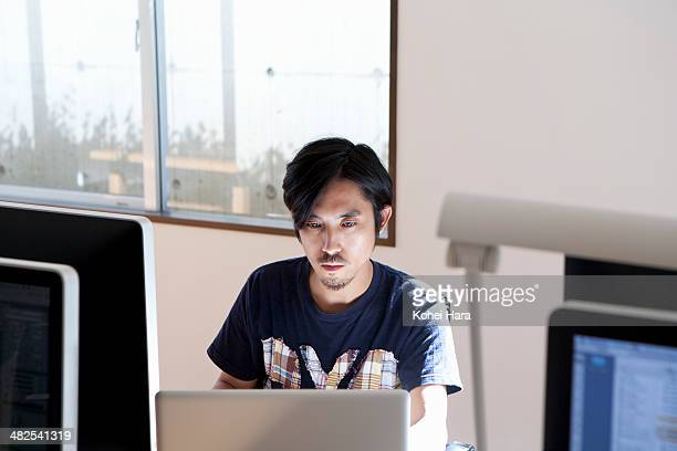 a business man working at office