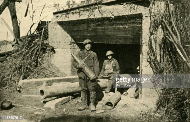 a captured 8inch naval gun in its concrete emplacement' First World War circa 1917 'The Hindenburg Defences' British soldiers on the Western Front in...