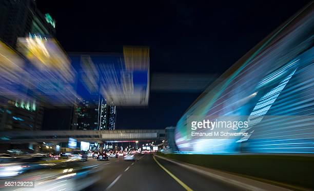 POV of a car / driving through a city