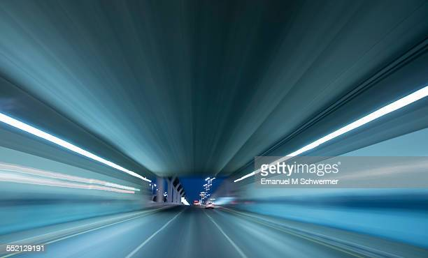 POV of a car driving through a tunnel