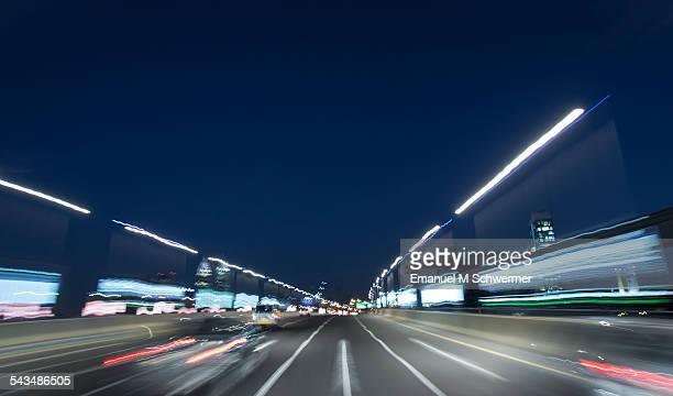 POV of a car driving through Dubai