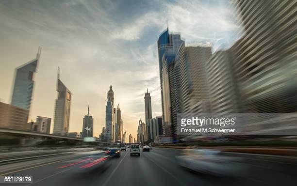 POV of a car / driving through Dubai