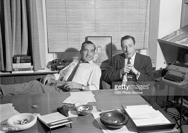 NOW a CBS News documentary program In the office of Edward R Murrow Murrow with show producer Fred Friendly Image dated September 19 1957