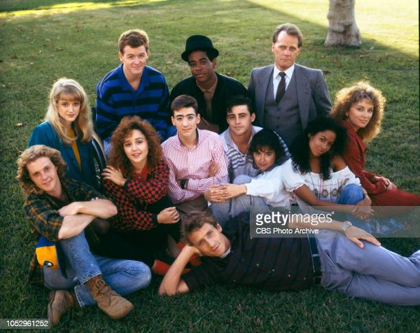 TV 101 a CBS television drama series about a high school journalism class November 1 1988 Los Angeles CA Clockwise from left Andrew White Teri Polo...