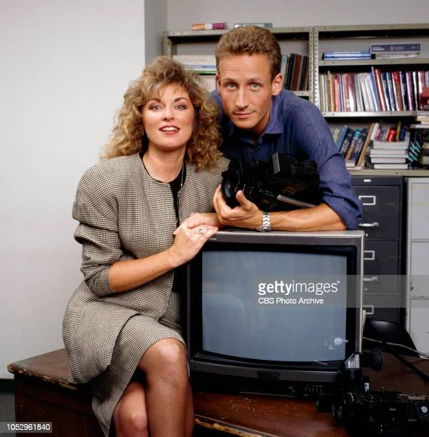 TV 101 a CBS television drama series about a high school journalism class November 1 1988 Los Angeles CA Pictured from left is Brynn Thayer and Sam...