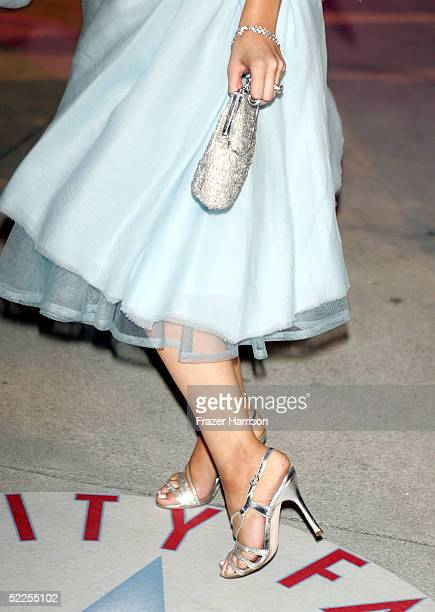a close up of Christina Aguilera's shoes and purse at the Vanity Fair Oscar Party at Mortons on February 27 2005 in West Hollywood California