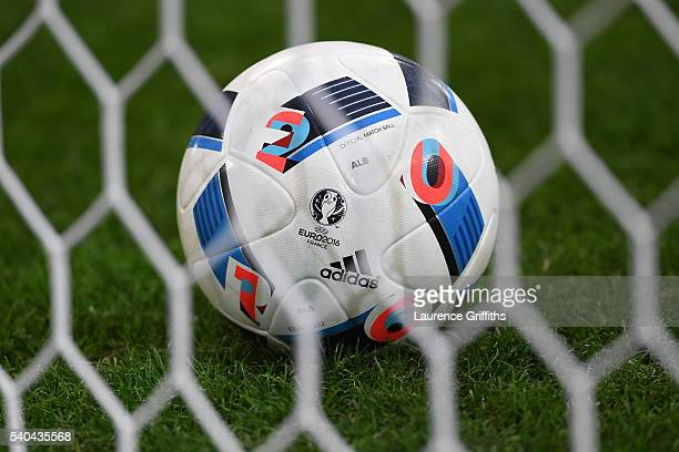 a close up of the match ball during the UEFA EURO 2016 Group A match between France and Albania at Stade Velodrome on June 15 2016 in Marseille France
