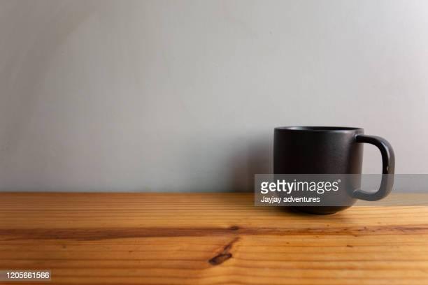 cup coffee tea wood table gray