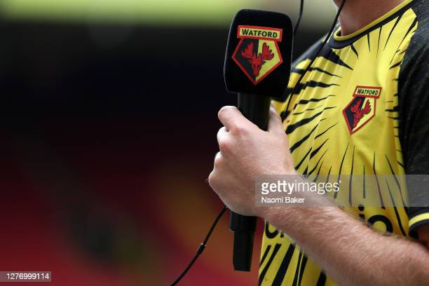 a detailed view of Tom Cleverley of Watford speaking to the media during the Sky Bet Championship match between Watford and Luton Town at Vicarage...