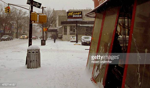 A dinner & snow-covered streets in Brooklyn,NY.