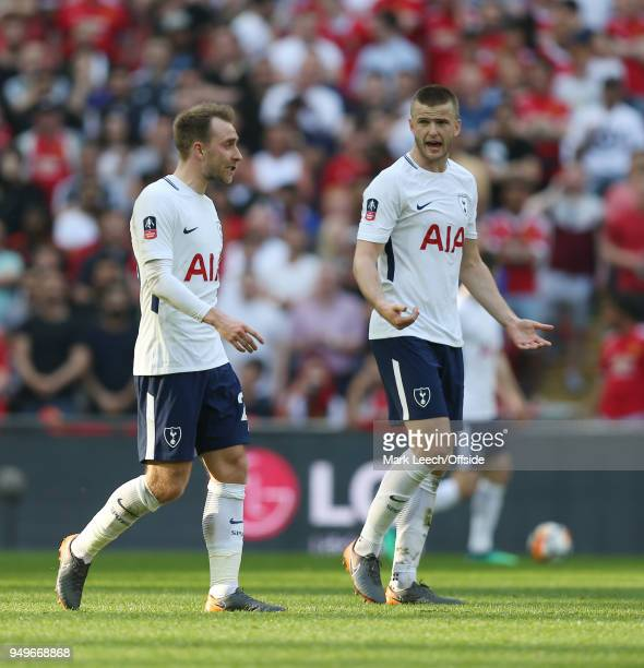 a disagreement between Tottenham players Christian Eriksen and Eric Dier during the FA Cup semi final between Manchester United and Tottenham Hotspur...