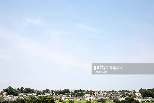 a distant view of the residential district - horizon over land stock photos and pictures
