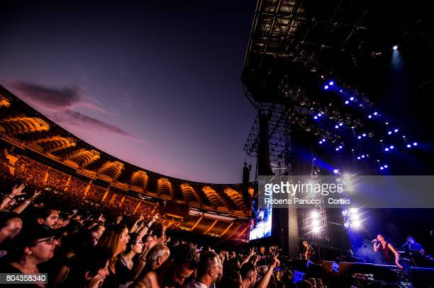 A english electronic rock band Depeche Mode performs in concert at Olympic Stadium on June 25, 2017 in Rome, Italy.