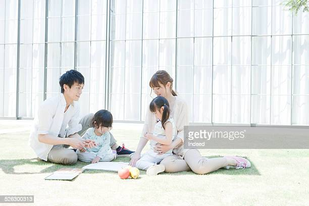 a family drawing a picture
