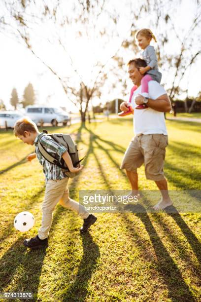 a family have fun in the park