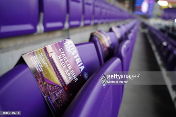 A feature of the new seats prior the tipico Bundesliga match between Austria Wien and FC Wacker Innsbruck at Generali Arena on July 27, 2018 in...